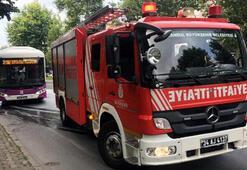 İstanbulda halk otobüsünde yangın çıktı
