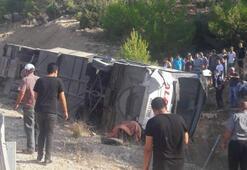 Askerleri taşıyan yolcu otobüsü kaza yaptı