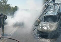TEMde feci olay Otomobil alev alev yandı