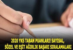 2020 YKS taban puanları ve başarı sıralamaları 2 ve 4 yıllık Sözel, sayısal ile eşit ağırlık taban puanları 2019...