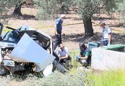 Otomobil zeytin bahçesine uçtu İmam ve kayınpederi öldü