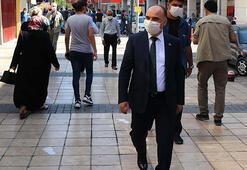 Kayseri Valisinden caddede maske ve sosyal mesafe uyarısı