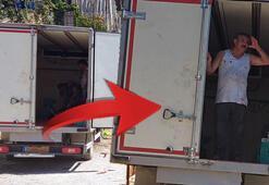 Plakayı kartonla kapattı Kamyon kasasında şok manzara