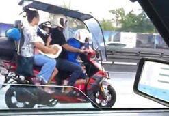Avcılarda akılalmaz görüntü Motosiklete 4 kişi bindiler