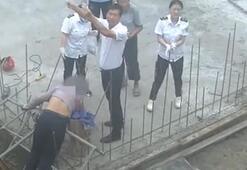 Boynuna ve göğsüne çelik çubuk saplanan inşaat işçisi böyle kurtarıldı