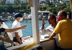 Ceza kesmek isteyen ekiplere direnen tur teknesi kaptanına gözaltı