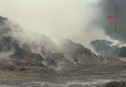 300 ton saman ve 100 ton yonca kül oldu
