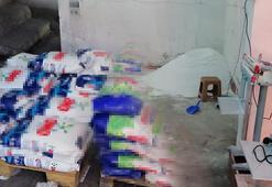 Tuzlada sahte deterjan üretilen imalathaneye baskın
