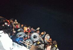 Ayvacıkta lastik bottaki 37 kaçak göçmen kurtarıldı