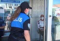 Kadın polisin maske taktırma çabası