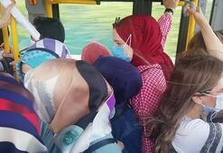 Kocaeli'de halk otobüsünde nefes alacak yer kalmadı
