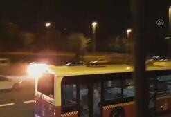 İstanbulda alev alan yolcu otobüsü yoluna devam etti