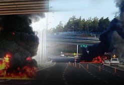 İstanbulda yolcu otobüsünde yangın