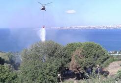 Büyükçekmecedeki yangına helikopterle müdahale edildi