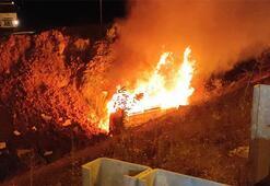 Sıkıştırılan ambulans şarampole yuvarlanarak yandı Ölümden döndüler