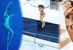 Serenay Sarıkaya denize çivileme atladı