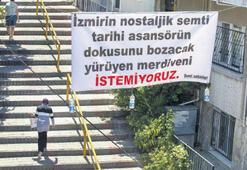 Yürüyen merdivene pankartlı tepki geldi