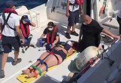 Tekneden düşüp yaralanan turist kadının yardımına sahil güvenlik yetişti