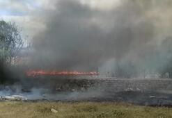 Ümraniyede otluk alanda yangın Helikopterle müdahale edildi