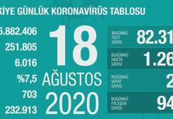Türkiyenin günlük corona virüs tablosu (18 Ağustos 2020)