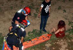 5 metre yüksekten dere yatağına düşen genç kız 1 saatte ikna edilerek kurtarıldı