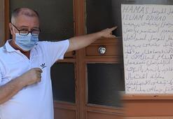 Edirnede apartmanın giriş kapısına yazılan Arapça yazıya inceleme