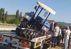 Aydında traktör ile otomobil çarpıştı