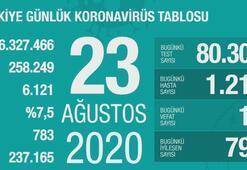 Türkiyenin günlük corona virüs tablosu (23 Ağustos 2020)