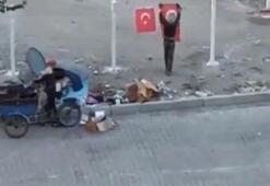 Çöpteki Türk bayraklarını temizleyip tellere astılar