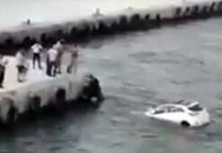 Çanakkale Bigada otomobil denize düştü
