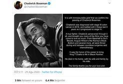 Chadwick Boseman'ın ölüm haberi paylaşımı, etkileşim rekoru kırdı