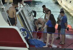 Marmariste caretta kamlumbağasının yardımına tur teknesi koştu