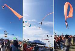 Uçurtma iplerine takılan çocuk 30 metre havalandı