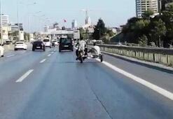 D-100 Karayolunda sepetli motosiklet ile tehlikeli yolculuk