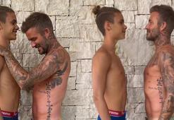 Romeo Beckham babasıyla boy ölçüştü