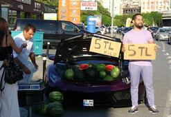 Lüks aracında 5 TLye karpuz satıyordu Cezadan kaçamadı