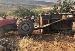 Fıstık bahçesinde traktör römorku devrildi 4 kişi ölümden döndü