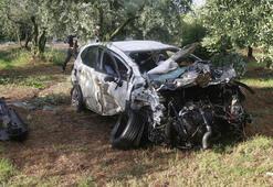 Bursada yoldan çıkıp zeytinliğe giren aracın sürücüsü öldü