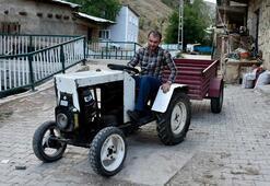 Pancar motoruyla traktör yaptı