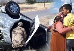 Otomobil takla attı Anne, oğluna sarılıp gözyaşı döktü