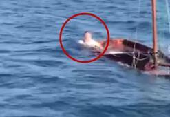 Alabora olan tekne ve beraberindeki 3 kişi kurtarıldı