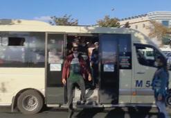 Yine aynı manzara Minibüste ayakta giden 21 yolcu çıktı