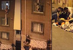 Çarşafla 3'üncü kattan inmek istedi Battaniye gerilerek kurtarıldı