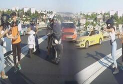 İstanbulda dehşet anları Motosikletli, otomobildeki aileye saldırdı