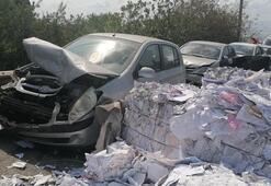 Freni boşalan kamyon dehşet saçtı 9 araç hasar gördü