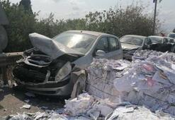 Frenleri boşalan kamyonu park halindeki araçların üzerine sürdü, 9 araç hasar gördü
