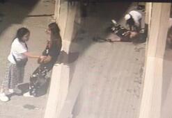 Sokak ortasında kız kavgası Saçından tutup kafasını kaldırıma vurdu