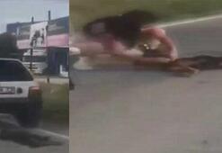 Arabanın arkasına bağladığı köpeği metrelerce sürükledi