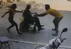 Yokuş aşağı inerken duramayan tekerlekli sandalyedeki adam böyle kurtarıldı