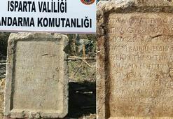 Ispartada 1800 yıllık kitabe ele geçirildi